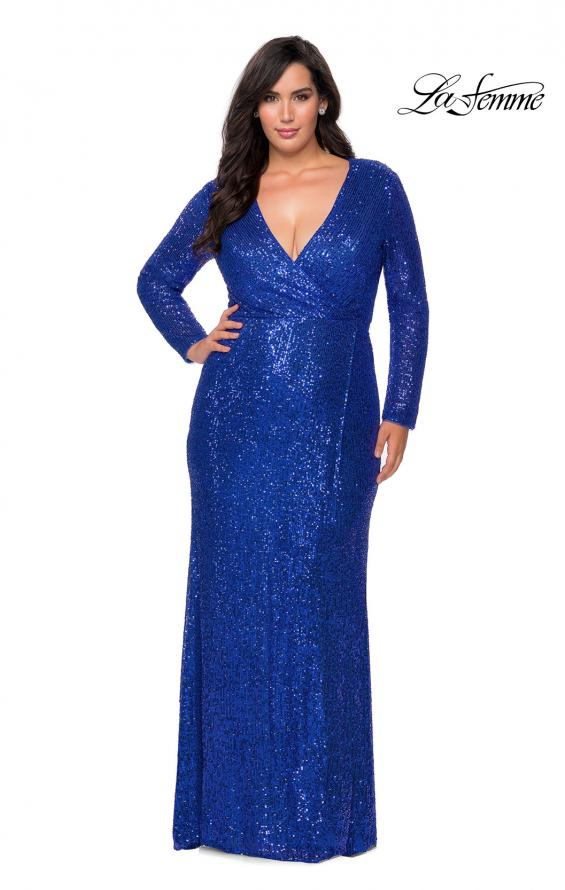 Picture of: Long Sleeve Sequin Plus Size Prom Dress with Slit in Royal Blue, Style: 28880, Detail Picture 5