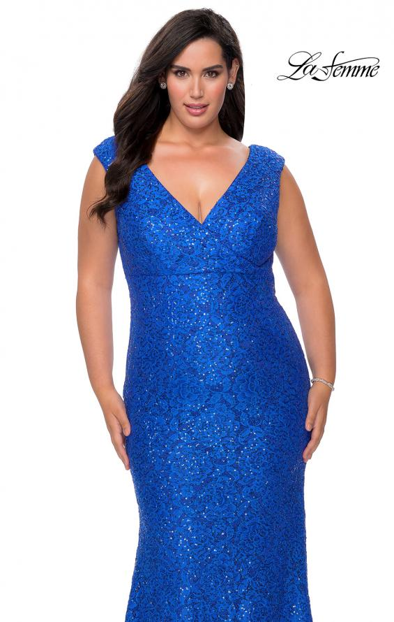 Picture of: Curvy Stretch Lace Dress with V-Neck and Rhinestones om Royal Blue, Style: 28837, Detail Picture 7