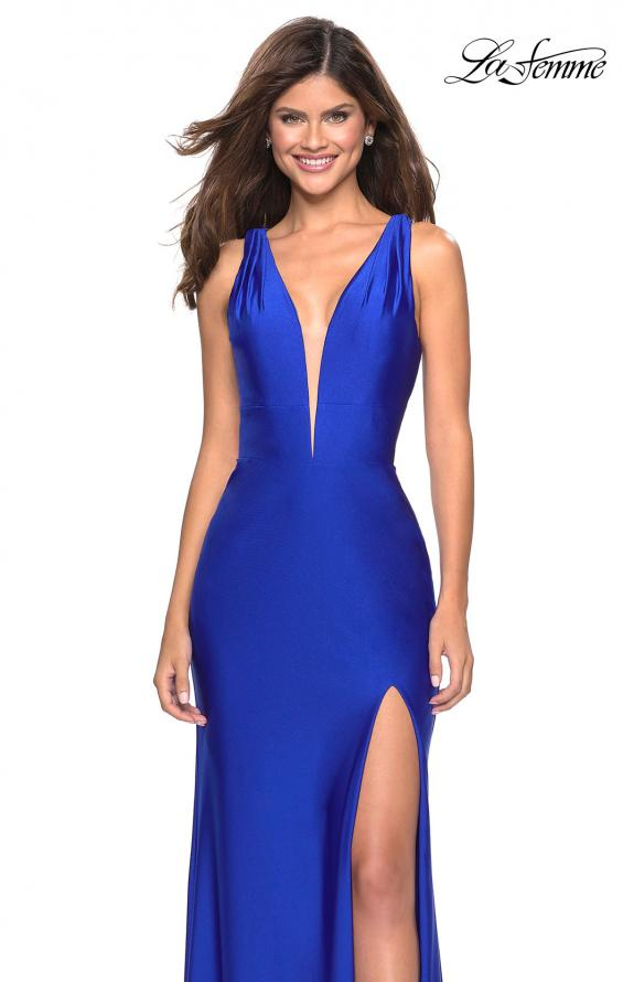Picture of: Form Fitting Long Jersey Dress with Plunging Neckline in Royal Blue, Style: 27602, Main Picture