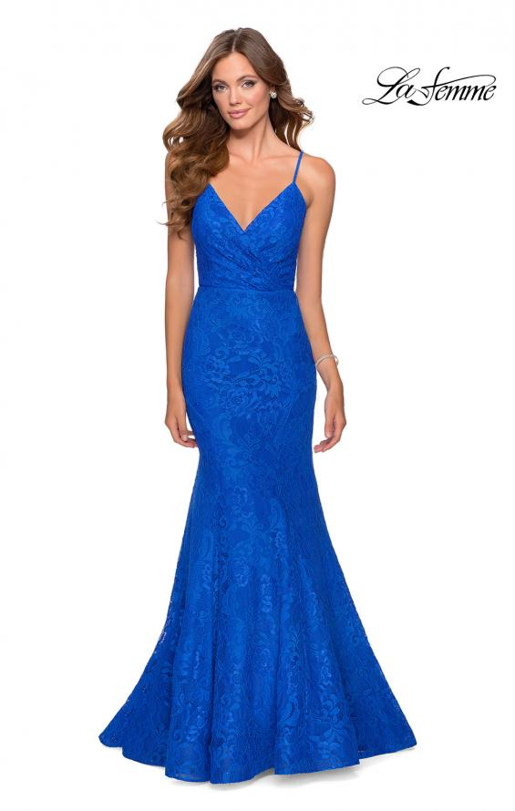 Picture of: Mermaid Lace Prom Dress with Faux Wrap Top in Royal Blue, Style: 28564, Main Picture
