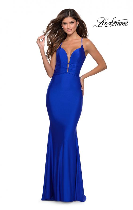 Picture of: Long Prom Dress with Knotted Detail and Lace Up Back in Royal Blue, Style: 28574, Main Picture