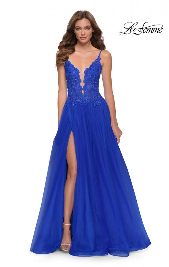Picture of: Tulle A Line Gown with Lace Rhinestone Bodice in Royal Blue, Style 29686, Main Picture