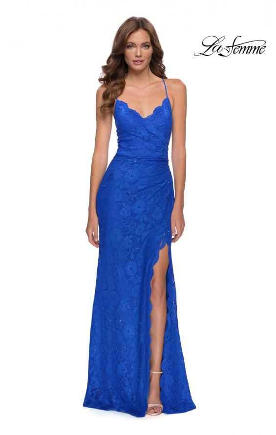 Picture of: Lace Long Dress with Scallop Detail on Skirt Slit in Royal Blue, Style 29939, Main Picture