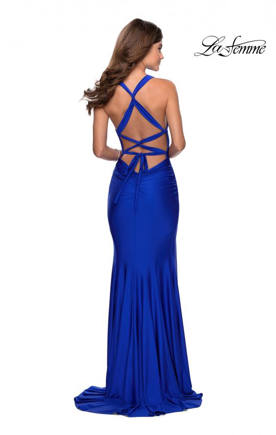 Picture of: Sleek Prom Dress with Deep V-Neckline and Tie Back in Royal Blue, Style: 28677, Detail Picture 8