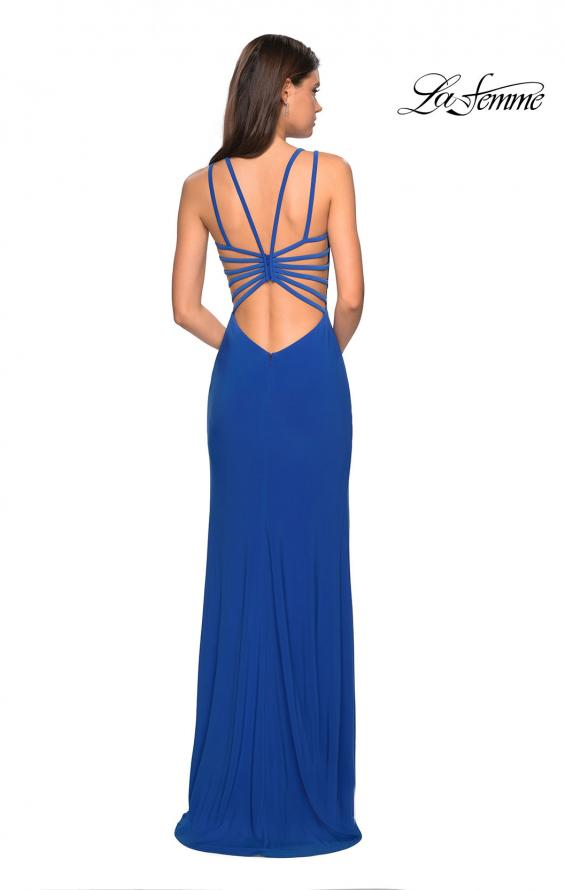 Picture of: Sultry Long Dress with Intricate Strappy Back in Royal Blue, Style: 27072, Detail Picture 9