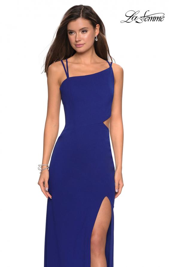 Picture of: Asymmetrical Jersey Prom Dress with Cut Outs in Royal Blue, Style: 27126, Detail Picture 9