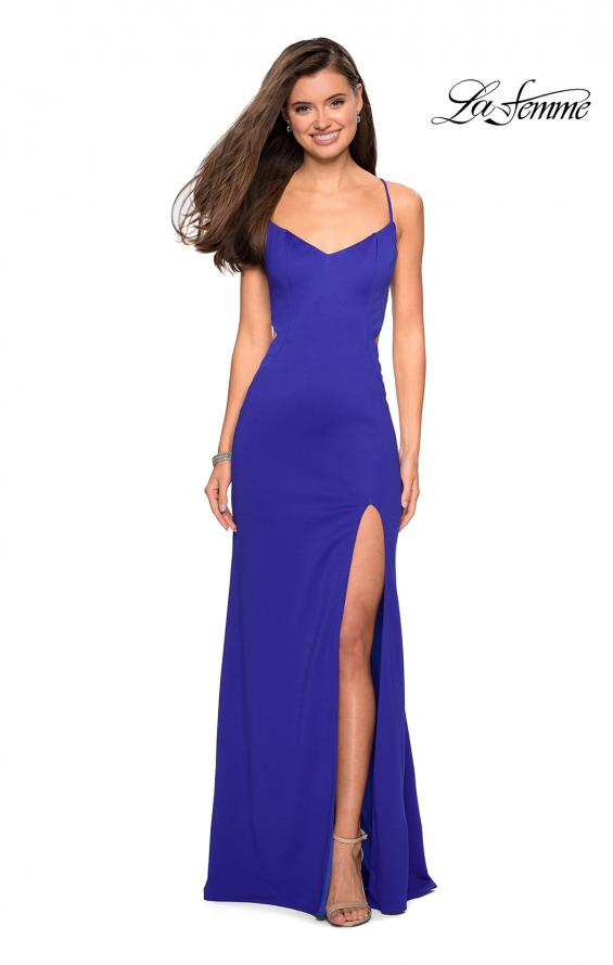 Picture of: Form Fitting Long Dress with Cut Outs and Strappy Back in Royal Blue, Style: 27516, Detail Picture 9