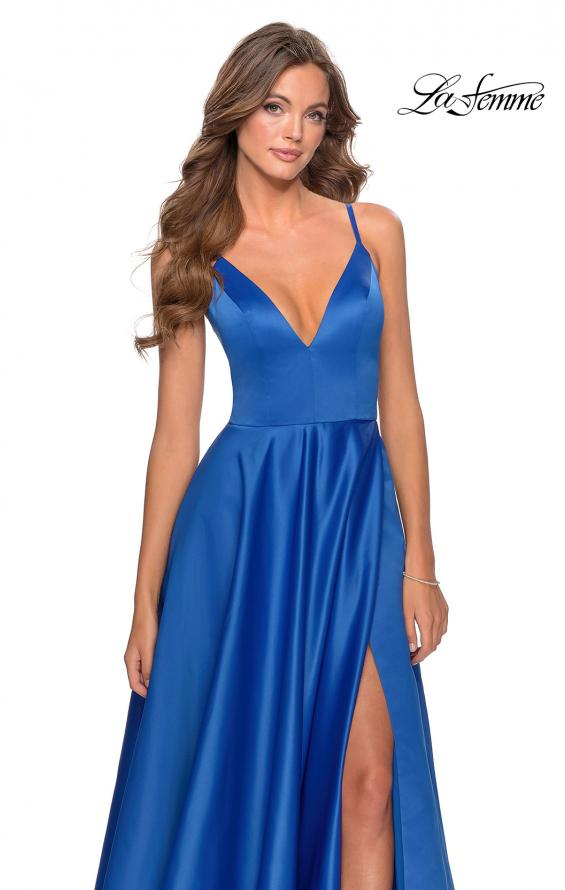 Picture of: V-Neck Satin Prom Dress with Lace Up Back in Royal Blue, Style: 28628, Detail Picture 9