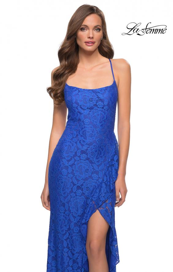 Picture of: Stretch Lace Dress with Ruffle Skirt Detail and Slit in Royal Blue, Style 29650, Detail Picture 10