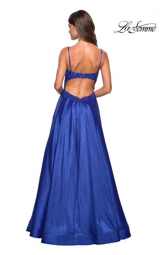 Picture of: Long Mikado Gown with Lace Bust and Open Back in Royal Blue, Style: 27222, Back Picture