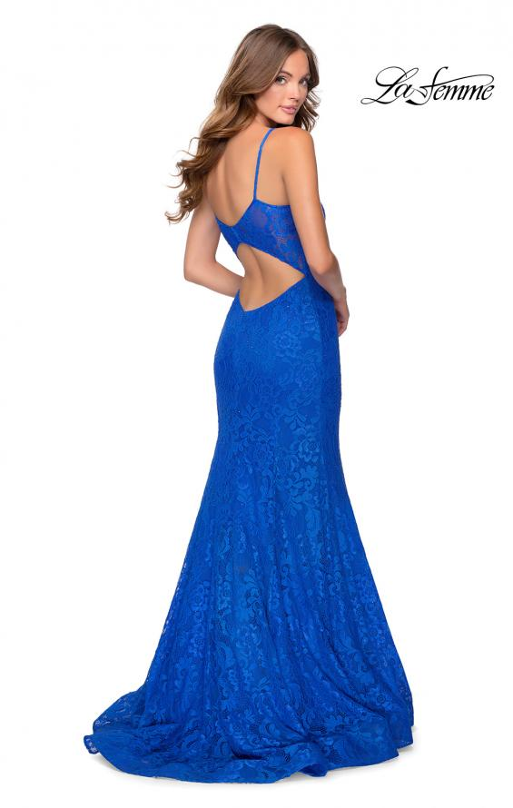 Picture of: Mermaid Lace Prom Dress with Faux Wrap Top in Royal Blue, Style: 28564, Back Picture