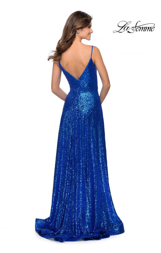 Picture of: Floor Length Sequin Dress with Faux Wrap Skirt in Royal Blue, Style: 28909, Back Picture