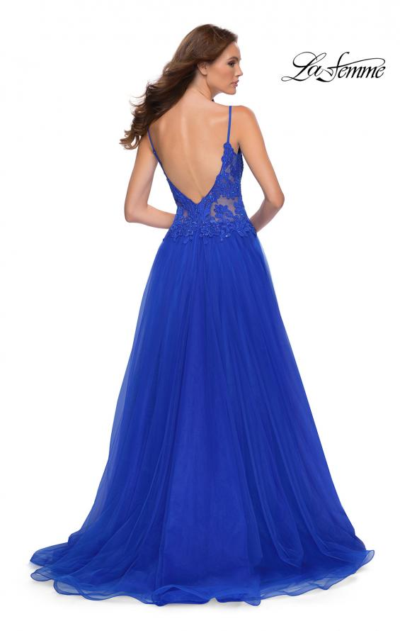Picture of: Tulle A Line Gown with Lace Rhinestone Bodice in Royal Blue, Style 29686, Back Picture