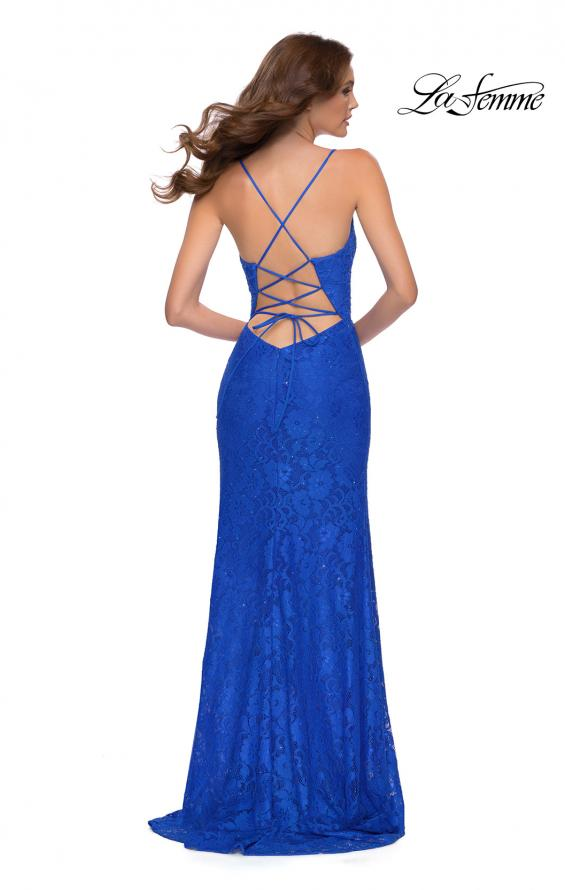 Picture of: Lace Long Dress with Scallop Detail on Skirt Slit in Royal Blue, Style 29939, Back Picture