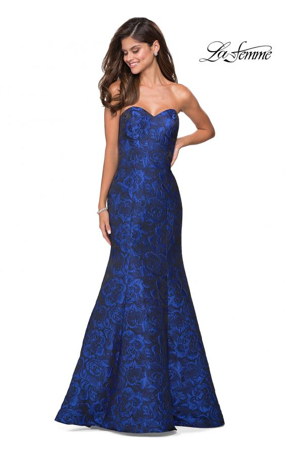 Picture of: Long Floral Jacquard Strapless Prom Dress, Style: 27149, Detail Picture 1