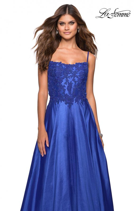 Picture of: Long Mikado Gown with Lace Bust and Open Back in Royal Blue, Style: 27222, Detail Picture 1