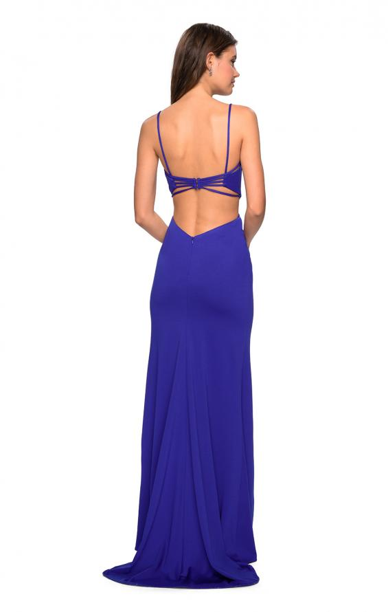 Picture of: Form Fitting Long Dress with Cut Outs and Strappy Back in Royal Blue, Style: 27516, Detail Picture 1