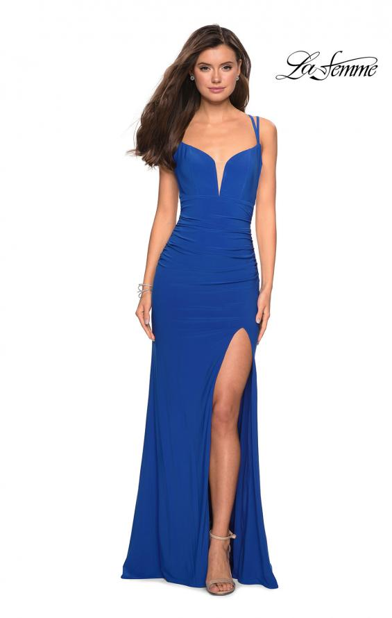 Picture of: Form Fitting Long Jersey Dress with Ruching in Royal Blue, Style: 27564, Detail Picture 1