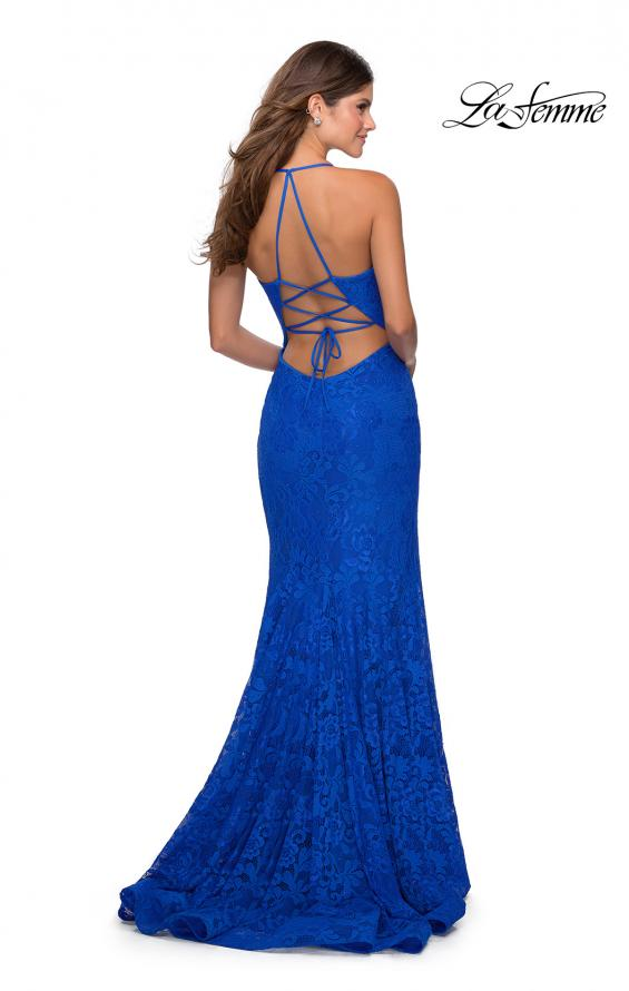 Picture of: Lace Prom Gown with Rhinestones and Tie Up Back in Royal Blue, Style: 28548, Detail Picture 1