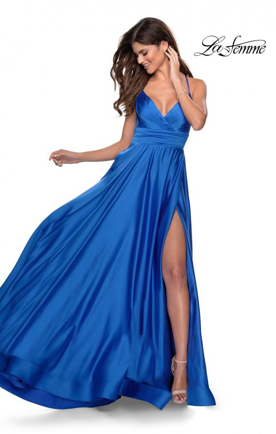 Picture of: Elegant Satin Prom Gown with Empire Waist in Royal Blue, Style: 28571, Detail Picture 1