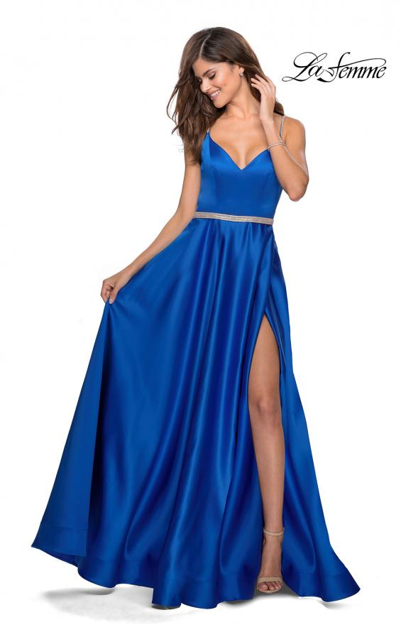 Picture of: Satin A-line Gown with Rhinestone Belt and Straps in Royal Blue, Style: 28695, Detail Picture 1