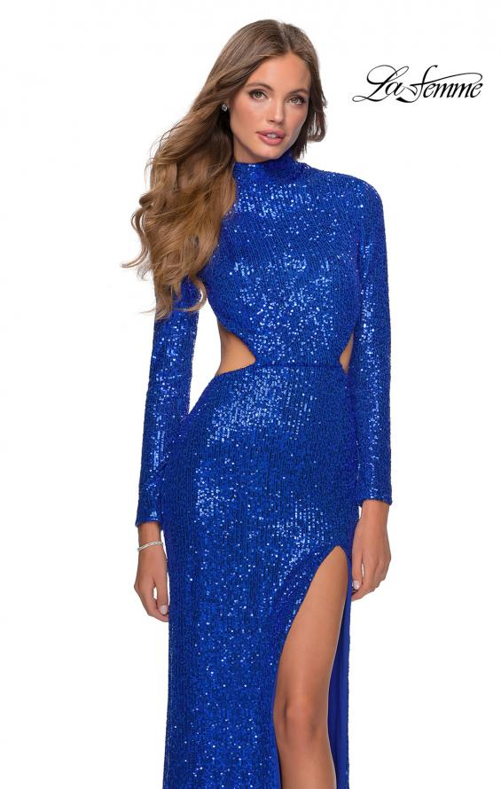 Picture of: Long Sleeve Sequin Prom Dress with Open Back in Royal Blue, Style: 28771, Detail Picture 1