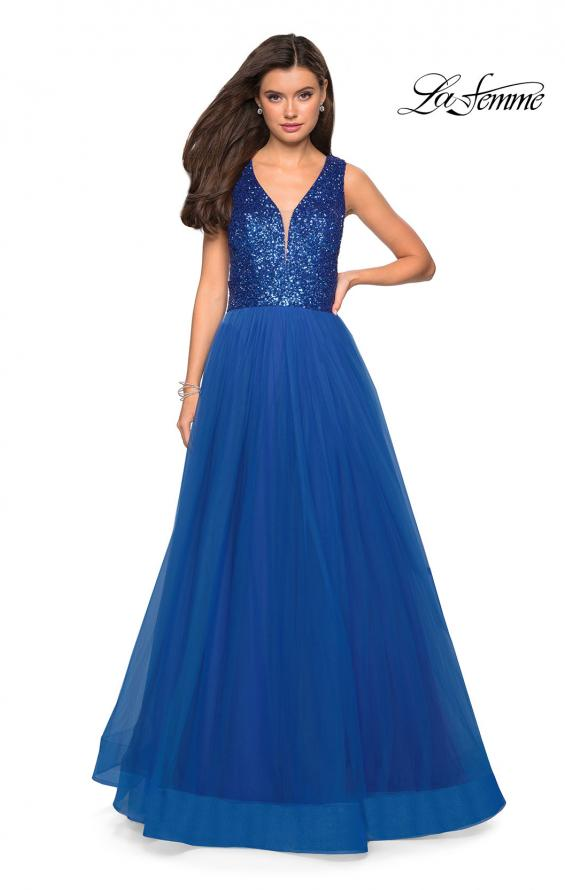Picture of: sequin Bust A Line Prom Gown with Pockets in Royal Blue, Style: 27336, Detail Picture 2