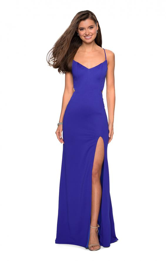 Picture of: Form Fitting Long Dress with Cut Outs and Strappy Back in Royal Blue, Style: 27516, Detail Picture 2