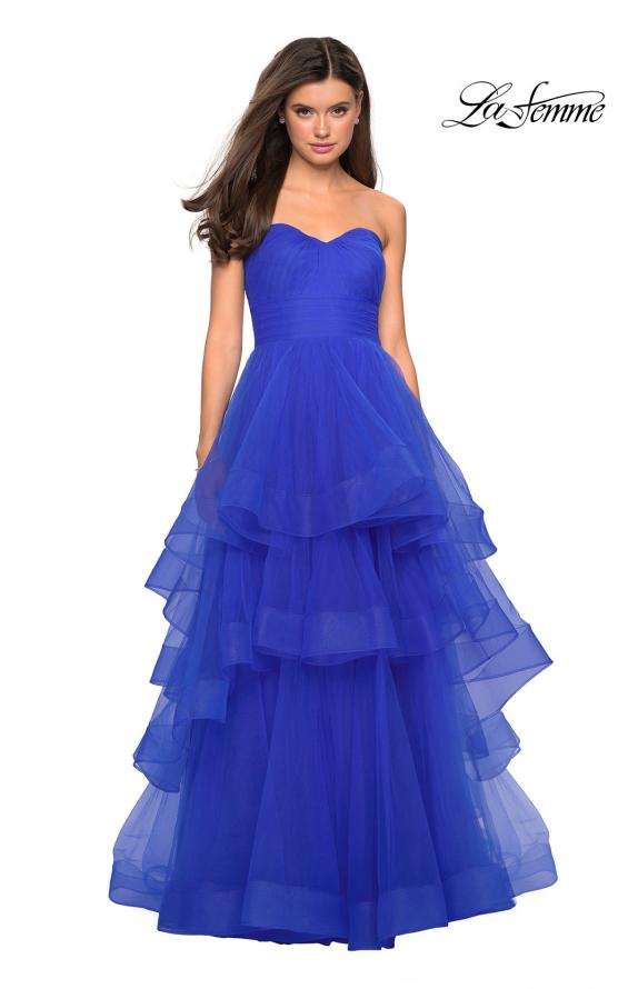 Picture of: Layered Tulle Strapless Prom Gown with Ruching, Style: 27624, Detail Picture 2