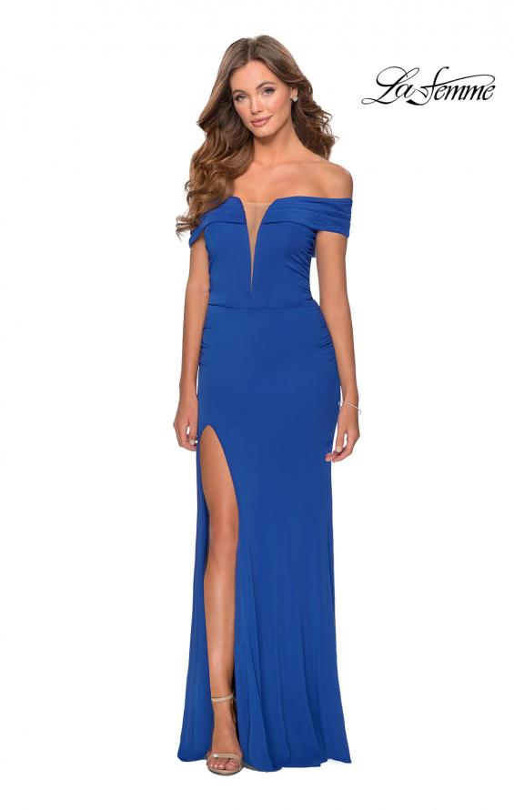 Picture of: Long Off The Shoulder Prom Dress with Deep V-Neck in Royal Blue, Style: 28132, Detail Picture 2