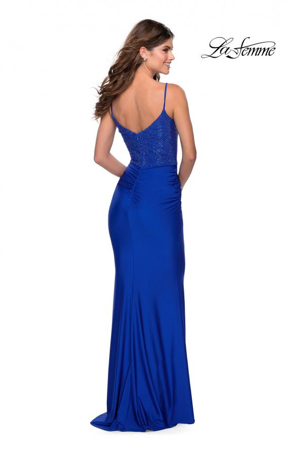 Picture of: Jersey Prom Dress with Rhinestone Net Bodice in Royal Blue, Style: 28734, Detail Picture 2
