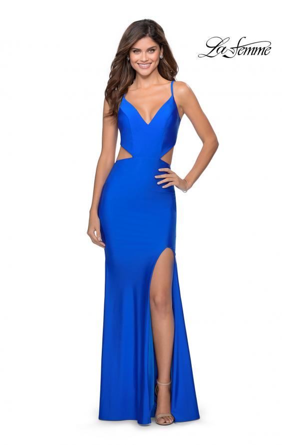 Picture of: Long Jersey Prom Dress with Cut Outs Sides in Royal Blue, Style: 28930, Detail Picture 2