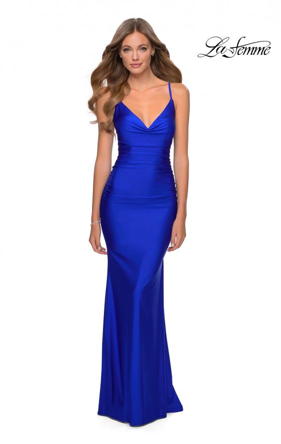 Picture of: Long Jersey Dress with Draped V-Neckline and Ruching in Royal Blue, Style: 28984, Detail Picture 2