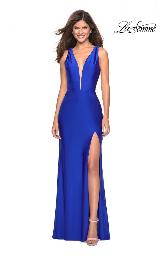 Picture of: Form Fitting Long Jersey Dress with Plunging Neckline in Royal Blue, Style: 27602, Detail Picture 3