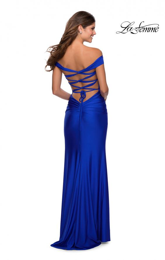Picture of: Off the Shoulder Prom Dress with Tie Back and Slit in Royal Blue, Style: 28506, Detail Picture 3
