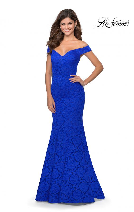 Picture of: Long Off the Shoulder Prom Dress with Lace Up Back in Royal Blue, Style: 28545, Detail Picture 3