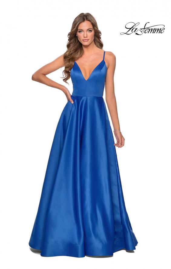 Picture of: V-Neck Satin Prom Dress with Lace Up Back in Royal Blue, Style: 28628, Detail Picture 3