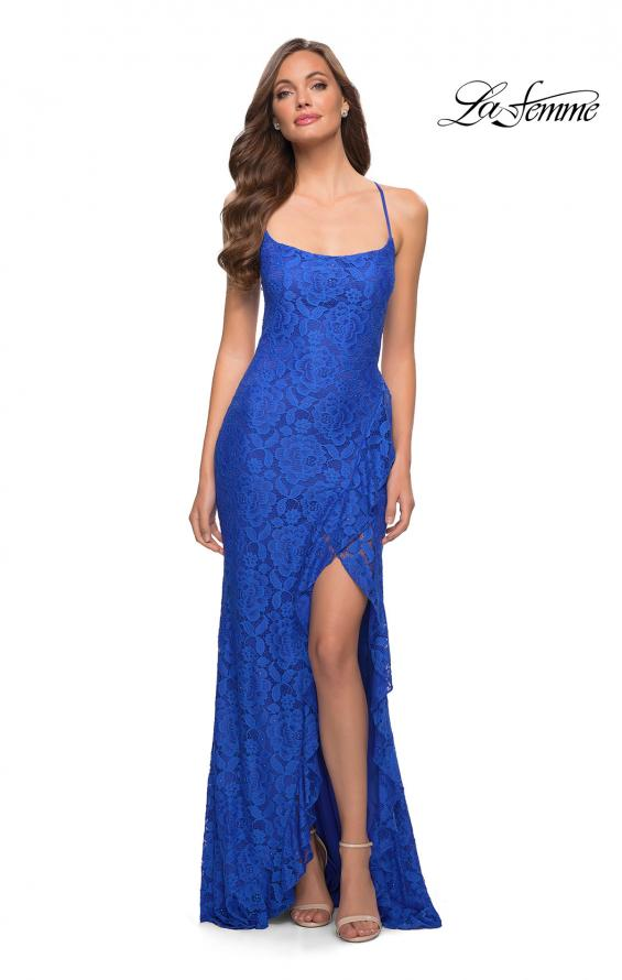 Picture of: Stretch Lace Dress with Ruffle Skirt Detail and Slit in Royal Blue, Style 29650, Detail Picture 3