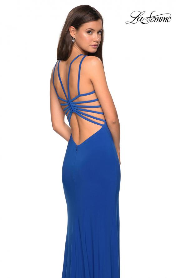 Picture of: Sultry Long Dress with Intricate Strappy Back in Royal Blue, Style: 27072, Detail Picture 4