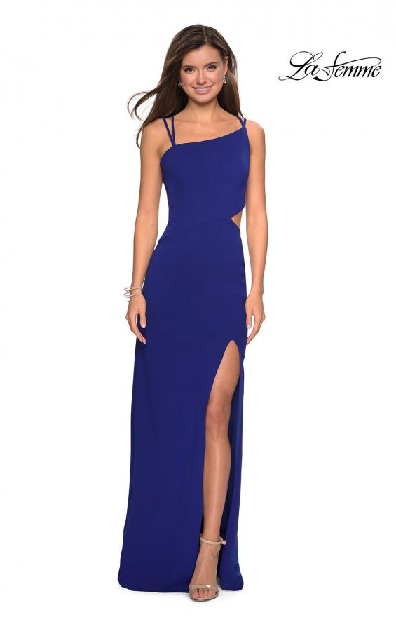 Picture of: Asymmetrical Jersey Prom Dress with Cut Outs in Royal Blue, Style: 27126, Detail Picture 4