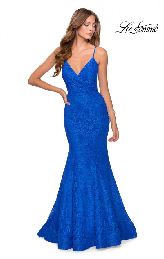 Picture of: Mermaid Lace Prom Dress with Faux Wrap Top in Royal Blue, Style: 28564, Detail Picture 4