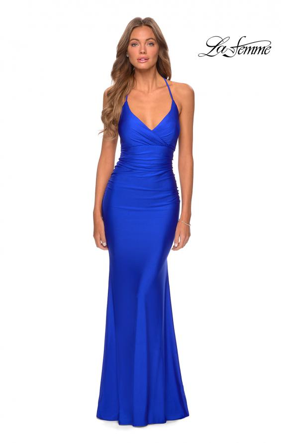 Picture of: Empire Waist Dress with Ruching and Lace Up Back in Royal Blue, Style: 28593, Detail Picture 4