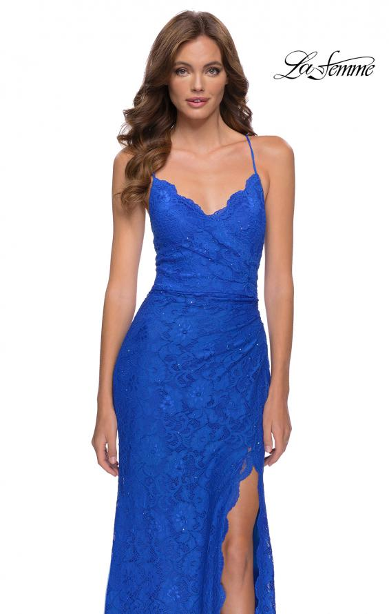 Picture of: Lace Long Dress with Scallop Detail on Skirt Slit in Royal Blue, Style 29939, Detail Picture 4