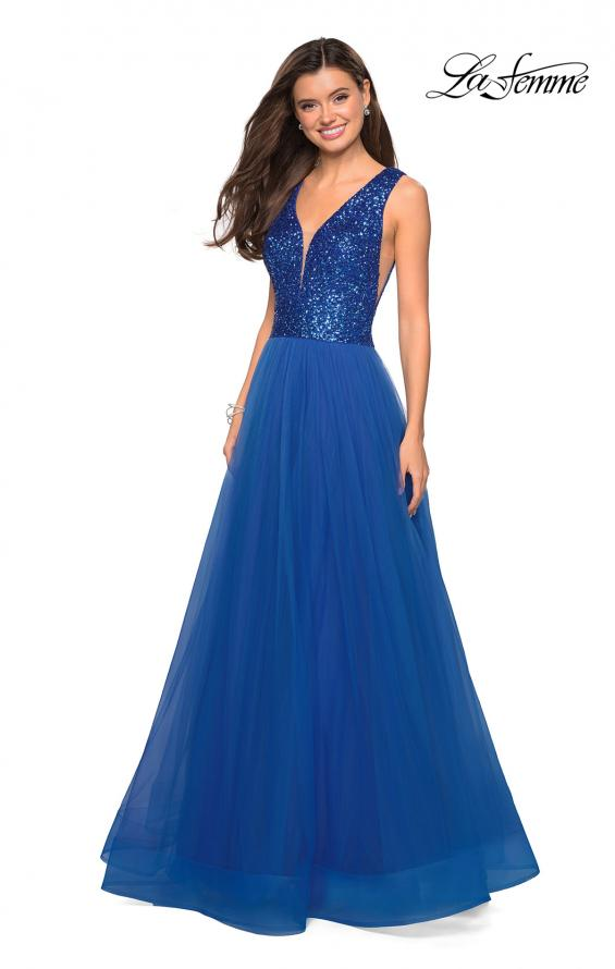 Picture of: sequin Bust A Line Prom Gown with Pockets in Royal Blue, Style: 27336, Detail Picture 5