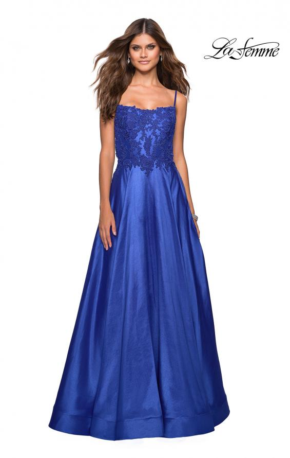 Picture of: Long Mikado Gown with Lace Bust and Open Back in Royal Blue, Style: 27222, Detail Picture 6