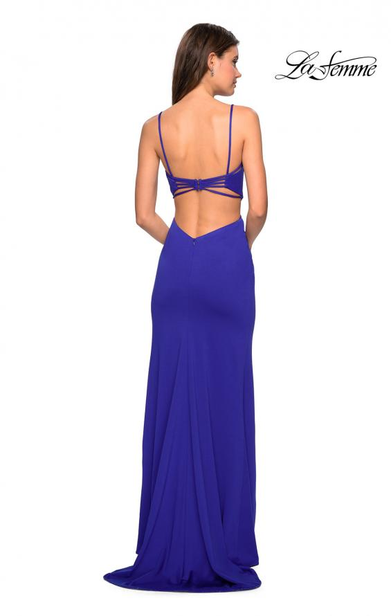 Picture of: Form Fitting Long Dress with Cut Outs and Strappy Back in Royal Blue, Style: 27516, Detail Picture 6