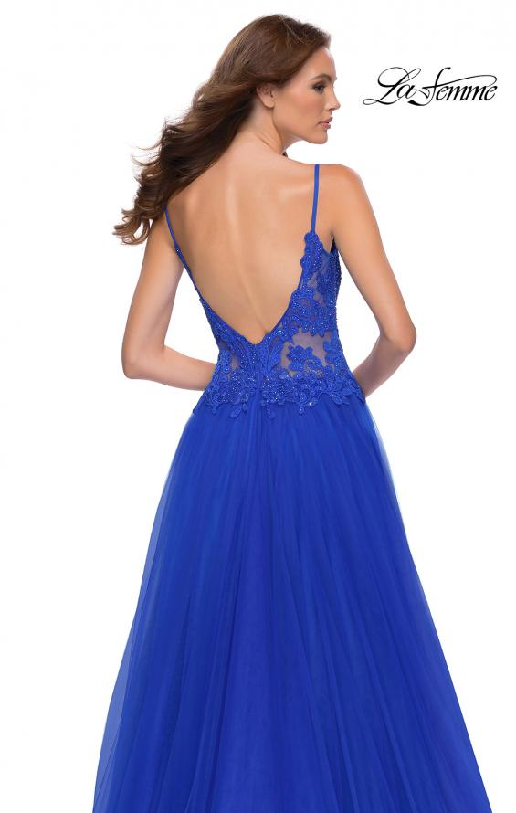 Picture of: Tulle A Line Gown with Lace Rhinestone Bodice in Royal Blue, Style 29686, Detail Picture 6