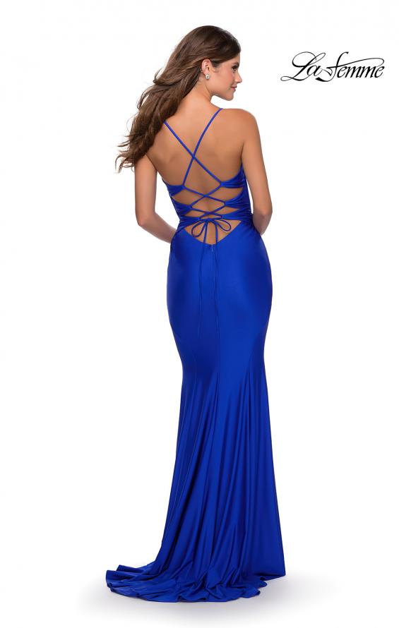 Picture of: Long Prom Dress with Knotted Detail and Lace Up Back in Royal Blue, Style: 28574, Detail Picture 7