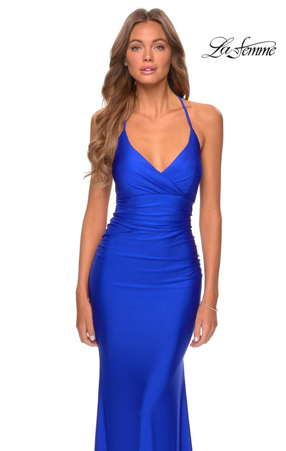 Picture of: Empire Waist Dress with Ruching and Lace Up Back in Royal Blue, Style: 28593, Detail Picture 7