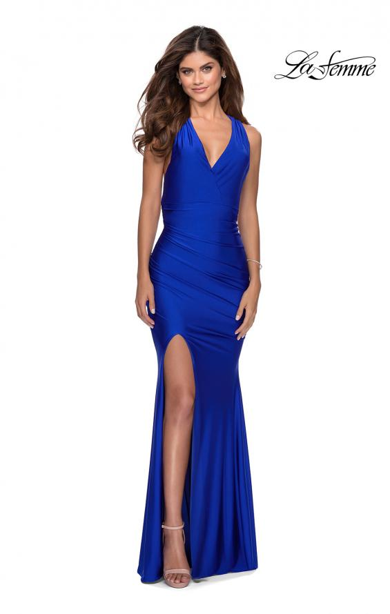 Picture of: Sleek Prom Dress with Deep V-Neckline and Tie Back in Royal Blue, Style: 28677, Detail Picture 7
